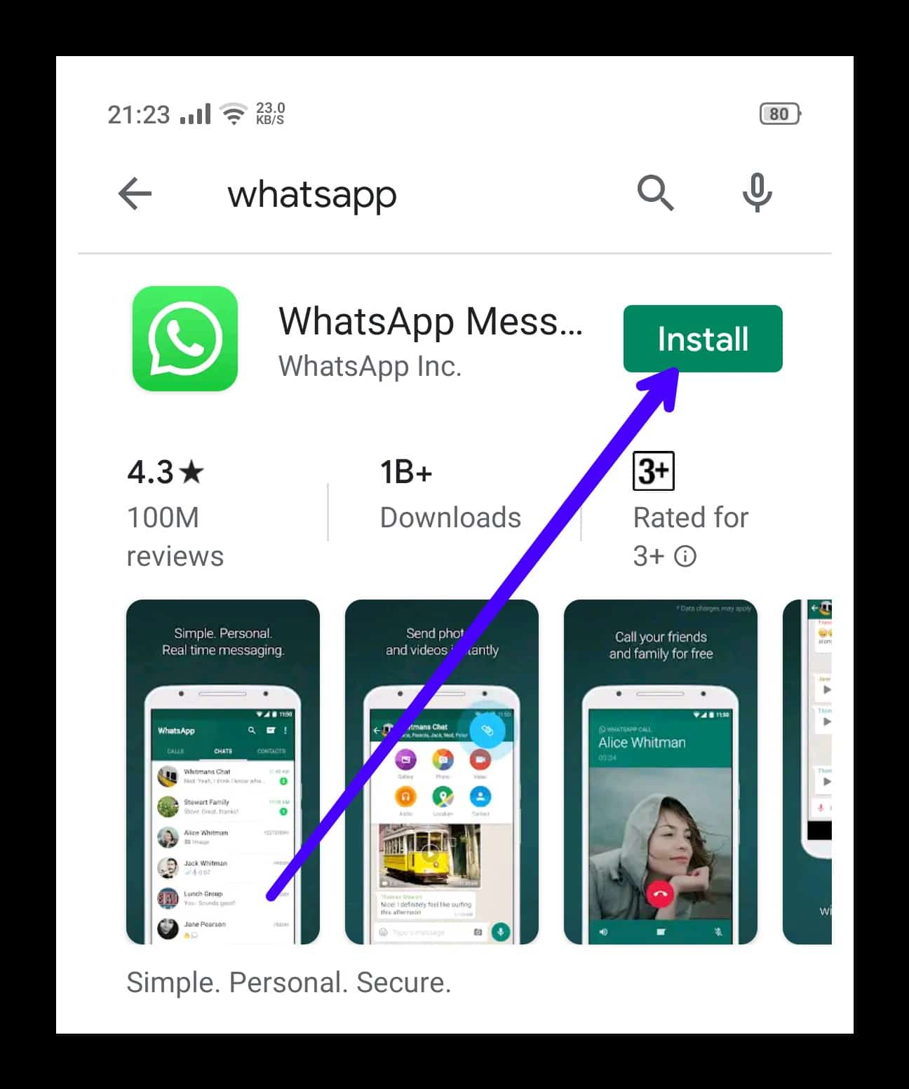 Select WhatsApp & Click Install