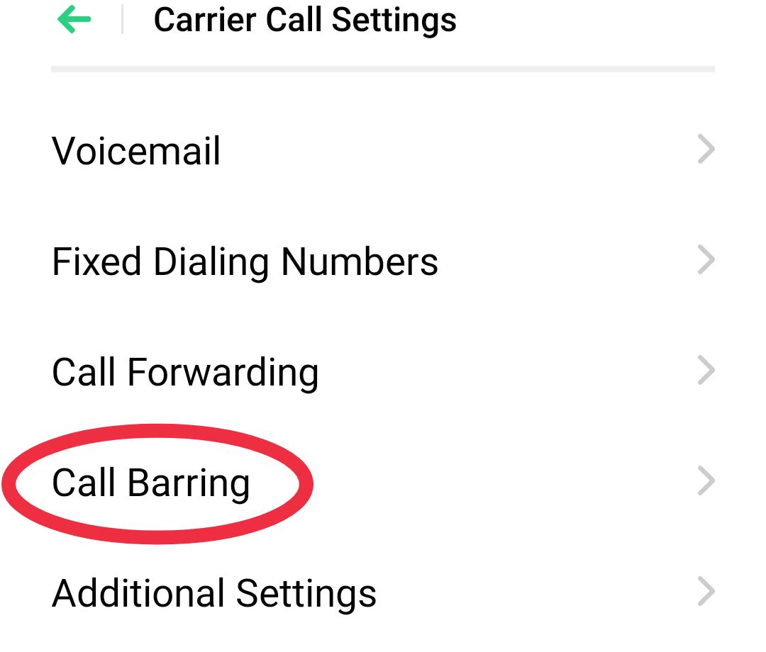 Call Barring पर क्लिक करें