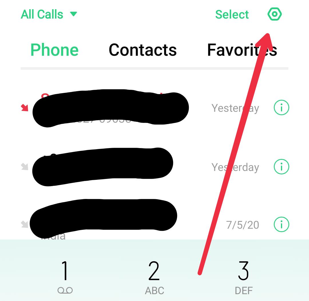 Phone App के सेटिंग पर जाए